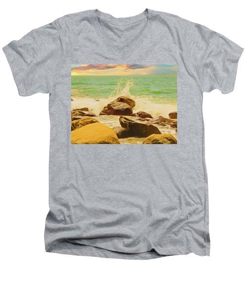 Small Ocean Waves,large Rocks. Men's V-Neck T-Shirt
