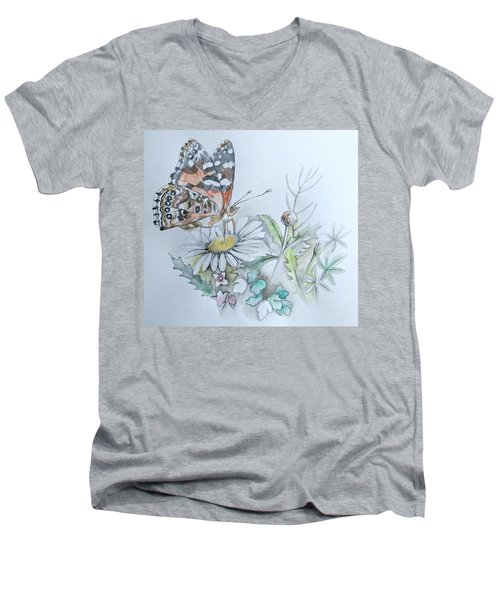 Men's V-Neck T-Shirt featuring the drawing Small Pleasures by Rose Legge