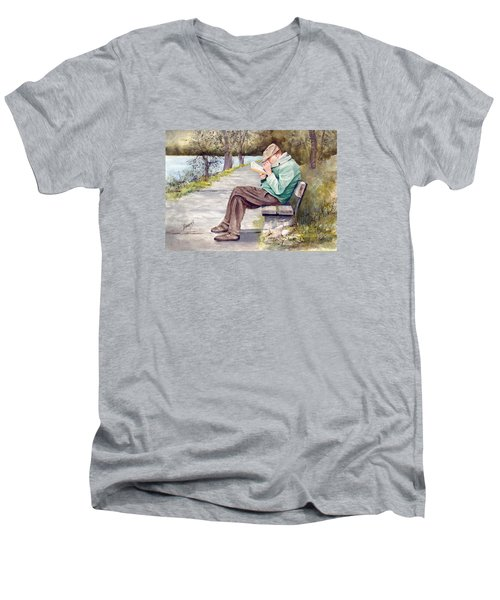Small Print Men's V-Neck T-Shirt
