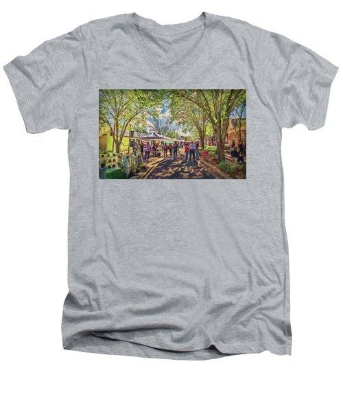 Men's V-Neck T-Shirt featuring the photograph Small Town Festival by Lewis Mann