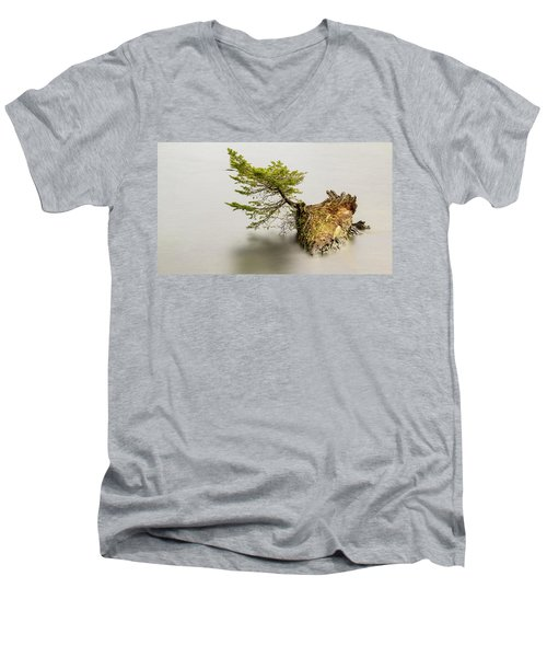 Small Tree On A Stump Men's V-Neck T-Shirt