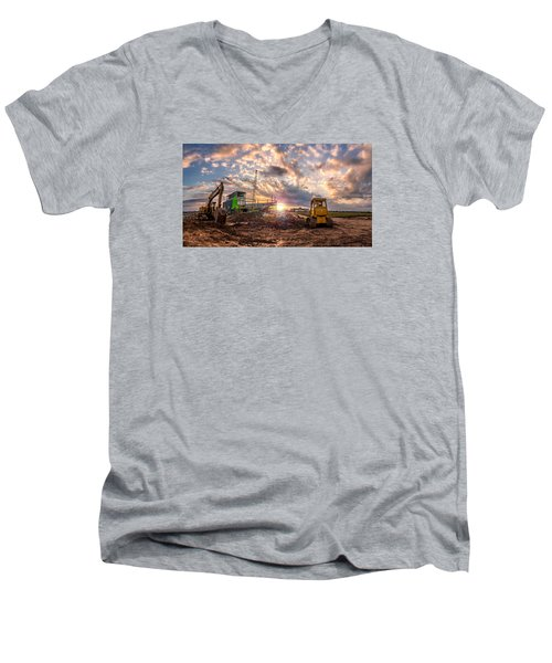 Men's V-Neck T-Shirt featuring the photograph Smart Financial Centre Construction Sunset Sugar Land Texas 11 21 2015 by Micah Goff