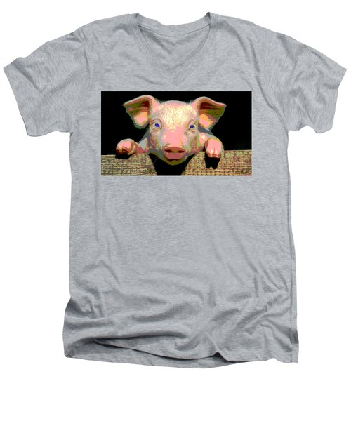 Men's V-Neck T-Shirt featuring the mixed media Smart Pig by Charles Shoup