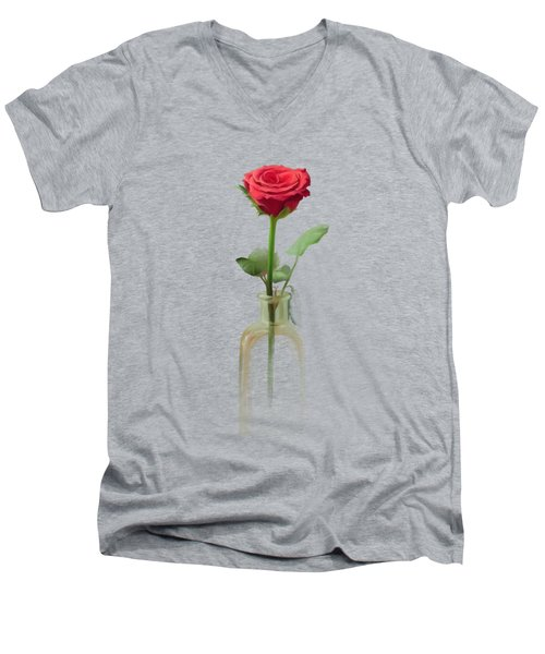 Men's V-Neck T-Shirt featuring the painting Smell The Rose by Ivana Westin