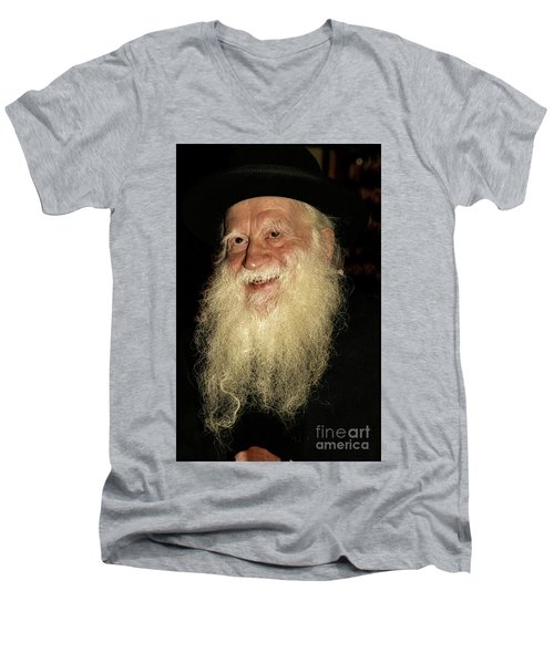 Men's V-Neck T-Shirt featuring the photograph Smiling Picture Of Rabbi Yehuda Zev Segal by Doc Braham