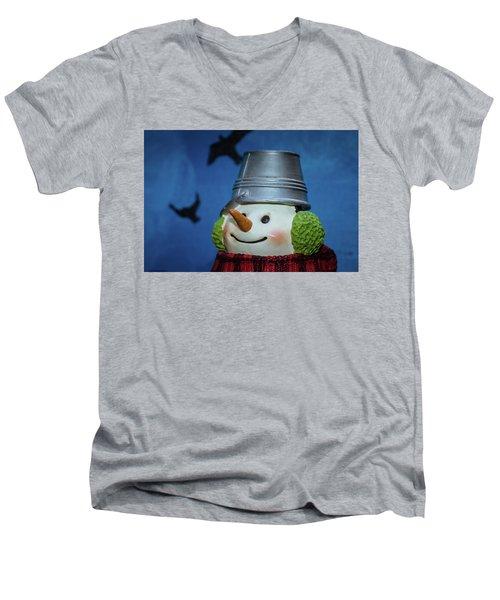 Smiling Snowman Men's V-Neck T-Shirt