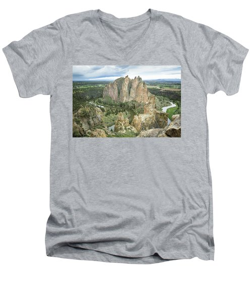 Smith Rock From Misery Ridge Men's V-Neck T-Shirt