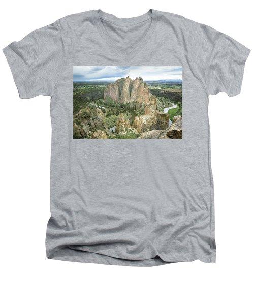 Smith Rock From Misery Ridge Men's V-Neck T-Shirt