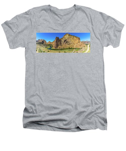 Men's V-Neck T-Shirt featuring the photograph Smith Rock by Jonny D