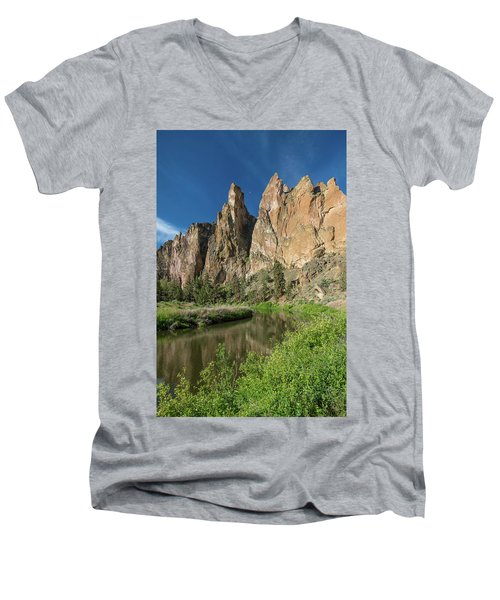 Smith Rock Spires Men's V-Neck T-Shirt by Greg Nyquist