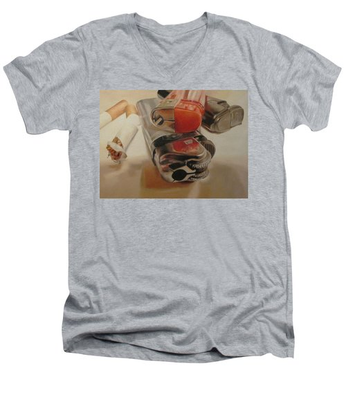 Men's V-Neck T-Shirt featuring the painting Smoke Break by Cherise Foster
