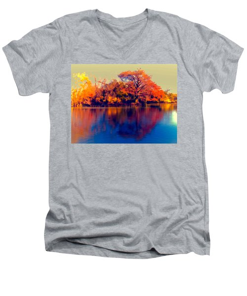 Men's V-Neck T-Shirt featuring the digital art Smoke Signals by Wendy J St Christopher