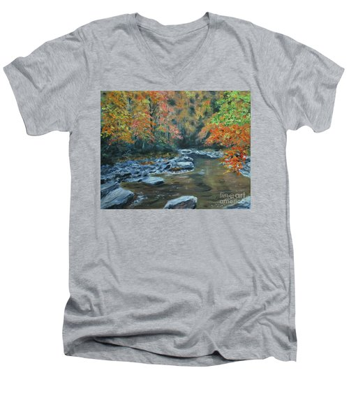 Smokey Mountain Autumn Men's V-Neck T-Shirt by Stanton Allaben