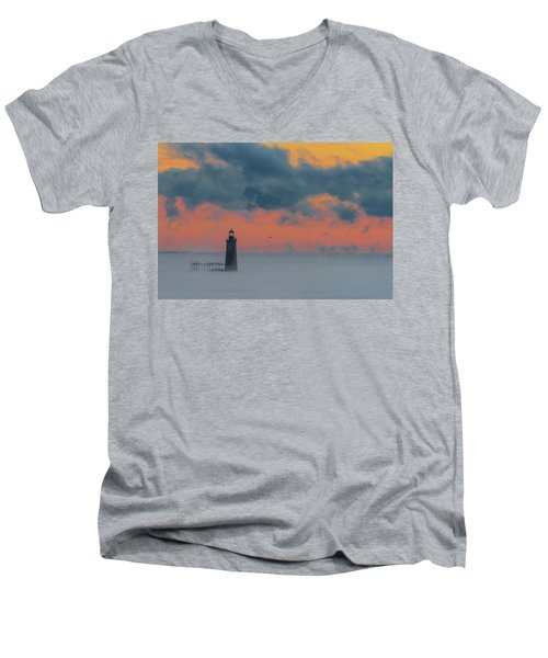 Smokey Sunrise At Ram Island Ledge Light Men's V-Neck T-Shirt