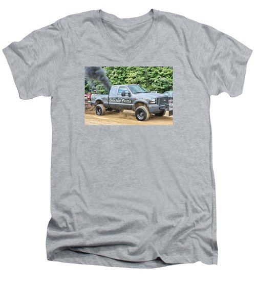 Men's V-Neck T-Shirt featuring the photograph Smokin' Guns by Denise Romano