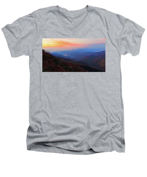 Dawn From Standing Indian Mountain Men's V-Neck T-Shirt by Daniel Reed