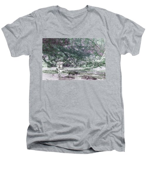 Men's V-Neck T-Shirt featuring the photograph Smoky Mountain Fisherman by Mike Eingle