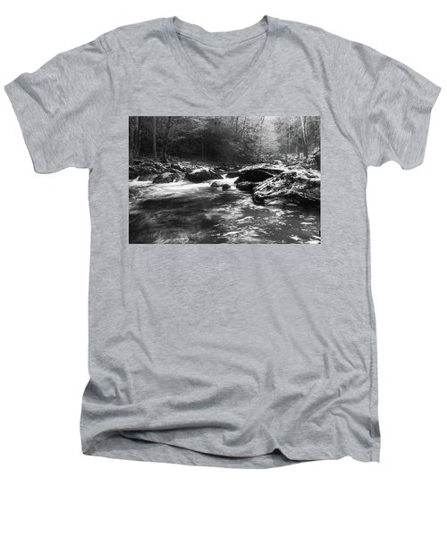 Men's V-Neck T-Shirt featuring the photograph Smoky Mountain River by Jay Stockhaus