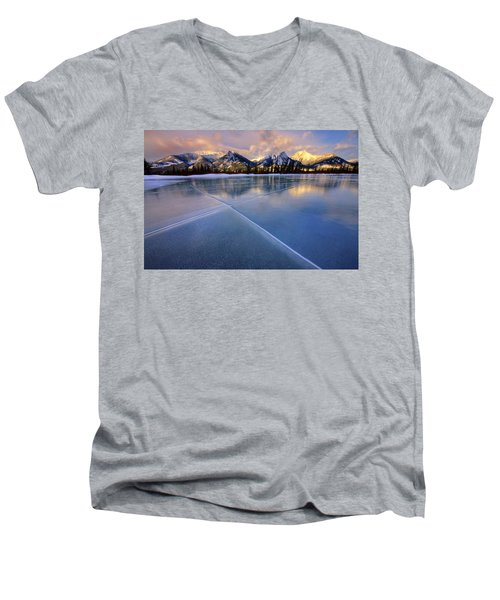 Men's V-Neck T-Shirt featuring the photograph Smooth Ice by Dan Jurak