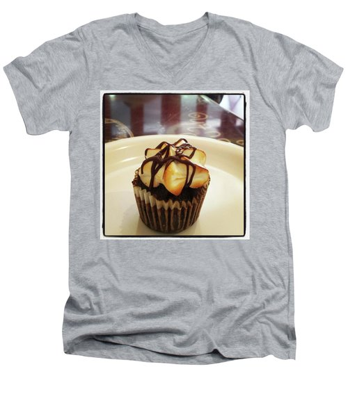 Men's V-Neck T-Shirt featuring the photograph smore Miniature Cupcake N Coffee by Mr Photojimsf