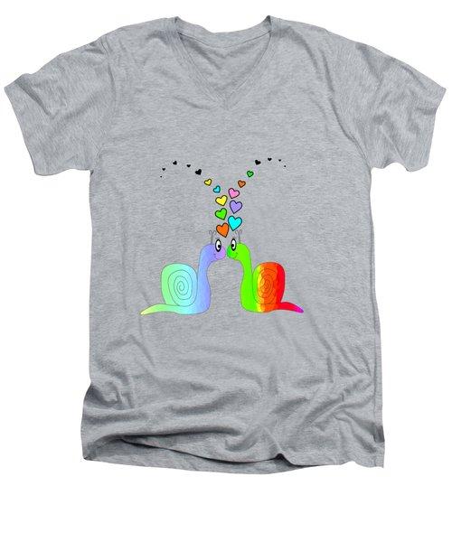 Snail Love - Romance Men's V-Neck T-Shirt