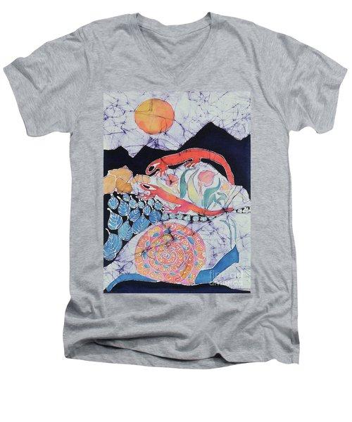 Snail With Red Efts Men's V-Neck T-Shirt