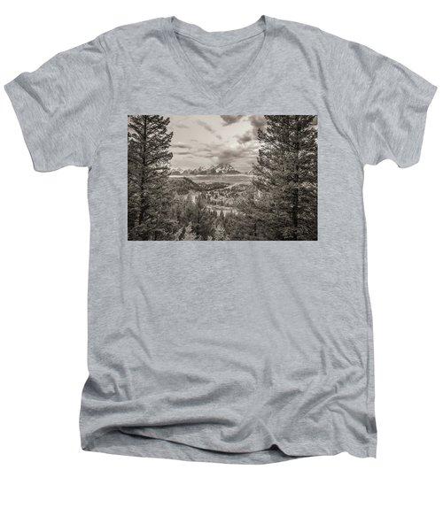 Snake River Overlook Grand Teton Monochromatic Men's V-Neck T-Shirt