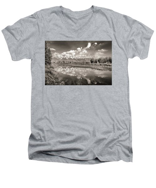 Snake River Reflection Grand Teton Monochromatic Men's V-Neck T-Shirt