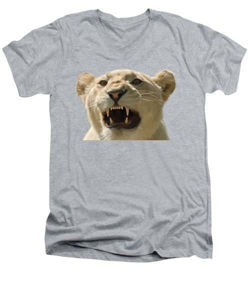 Snarling Lion Men's V-Neck T-Shirt