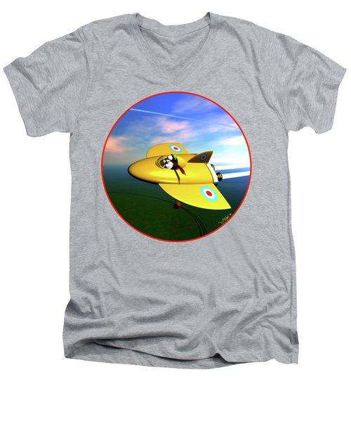 Snoopy The Flying Ace Men's V-Neck T-Shirt