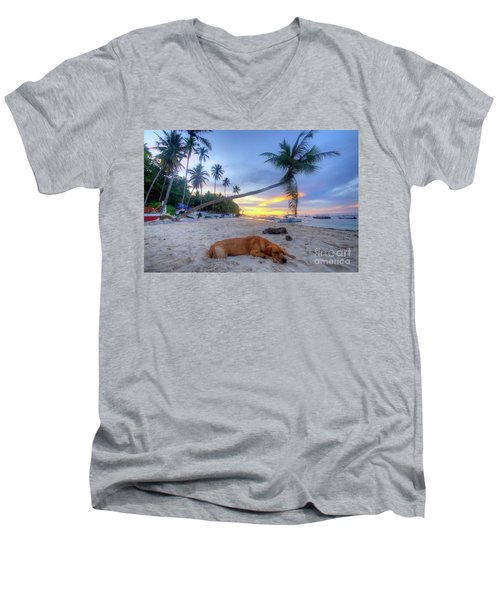 Men's V-Neck T-Shirt featuring the photograph Snooze by Yhun Suarez