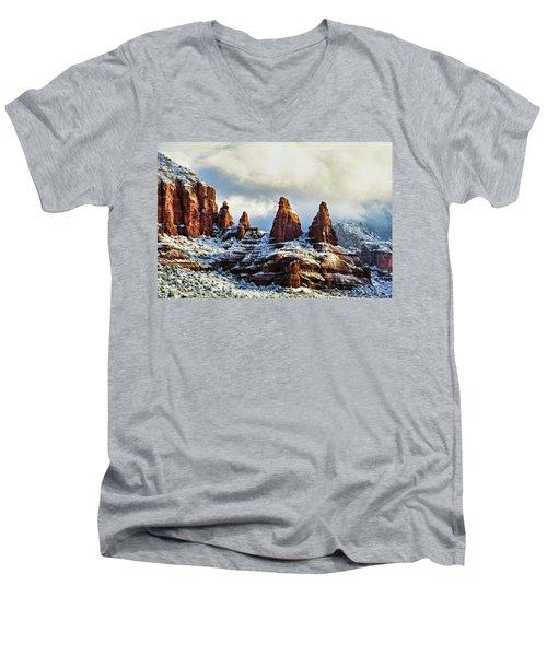 Snow 04-002 Men's V-Neck T-Shirt by Scott McAllister