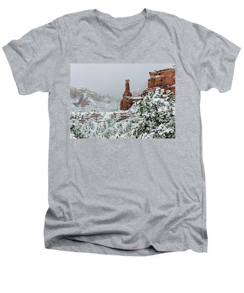 Snow 06-027 Men's V-Neck T-Shirt by Scott McAllister