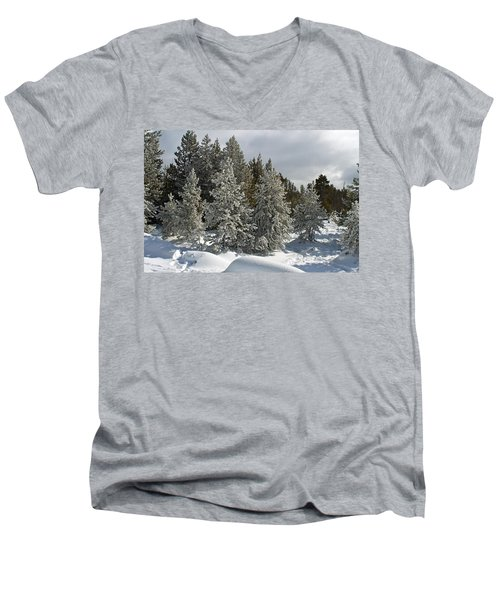 Snow And Ice Covered Evergreens At Sunset Lake  Men's V-Neck T-Shirt