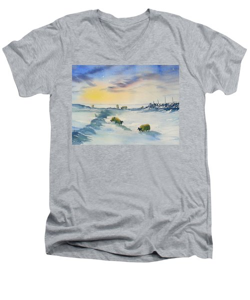 Snow And Sheep On The Moors Men's V-Neck T-Shirt