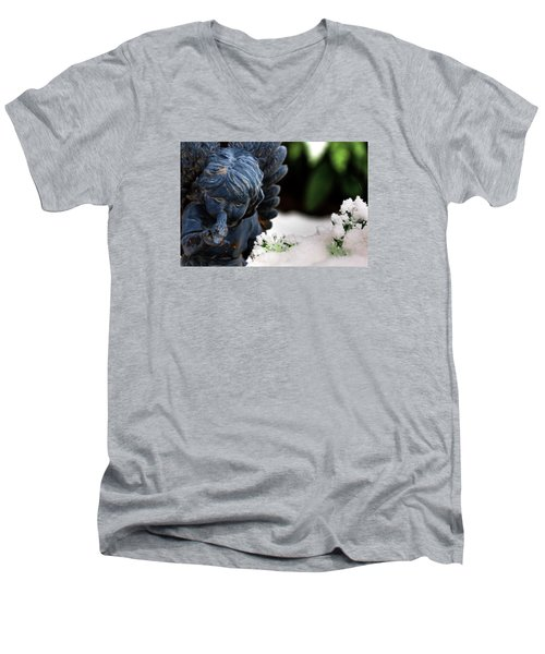 Men's V-Neck T-Shirt featuring the photograph Snow Angel Whisperer by Shelley Neff
