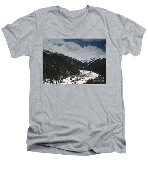 Snow At Independence Pass Colorado Highway 82 Men's V-Neck T-Shirt by Nature Scapes Fine Art