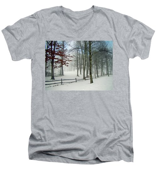 Snow Begins Men's V-Neck T-Shirt by Betsy Zimmerli