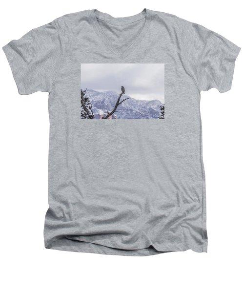Men's V-Neck T-Shirt featuring the photograph Snow Bird by Laura Pratt