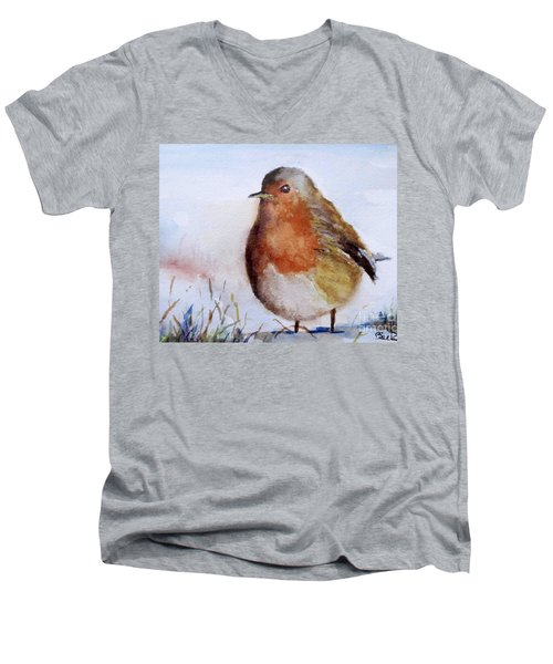 Snow Bird Men's V-Neck T-Shirt by William Reed