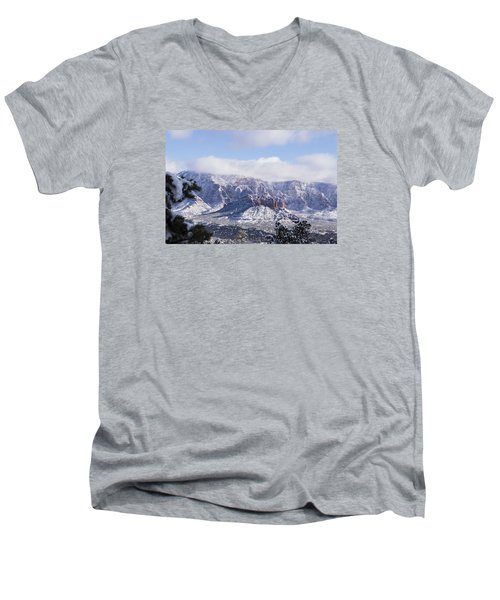 Men's V-Neck T-Shirt featuring the photograph Snow Blanket by Laura Pratt
