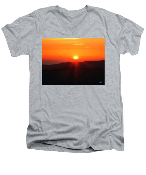Men's V-Neck T-Shirt featuring the photograph Snow Camp View 2 by Leland D Howard