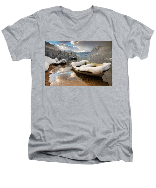 Snow Covered Boat On Lake Bohinj In Winter Men's V-Neck T-Shirt