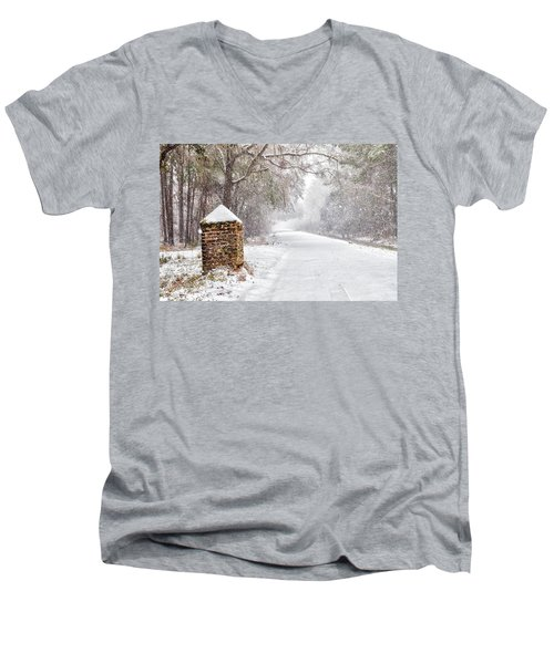 Snow Covered Brick Pillar Men's V-Neck T-Shirt