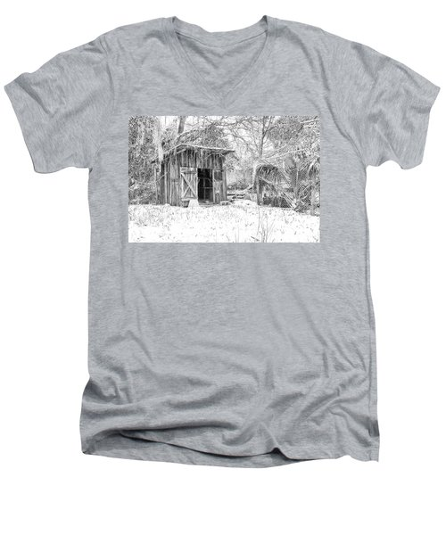 Snow Covered Chicken House Men's V-Neck T-Shirt