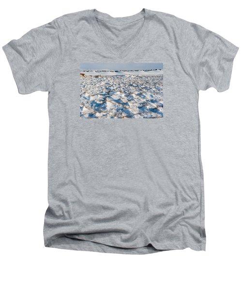 Snow Covered Grass Men's V-Neck T-Shirt