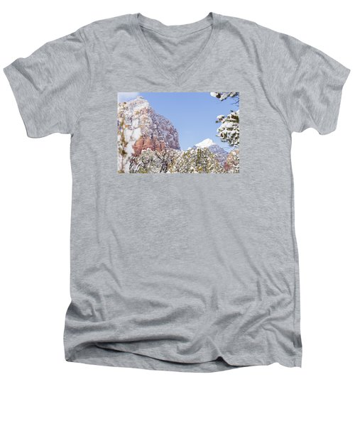 Men's V-Neck T-Shirt featuring the photograph Snow Covered by Laura Pratt