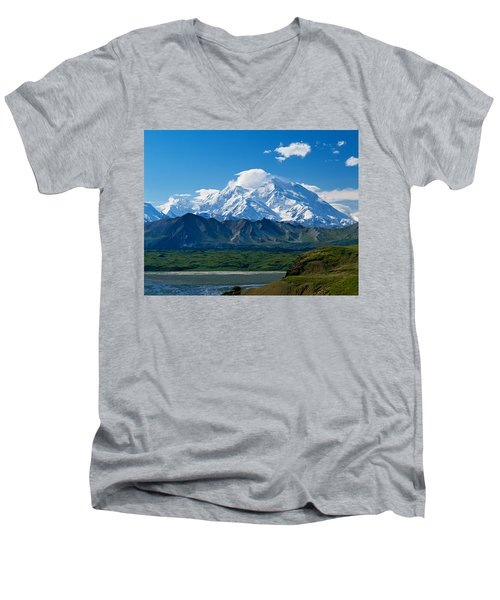 Snow-covered Mount Mckinley, Blue Sky Men's V-Neck T-Shirt