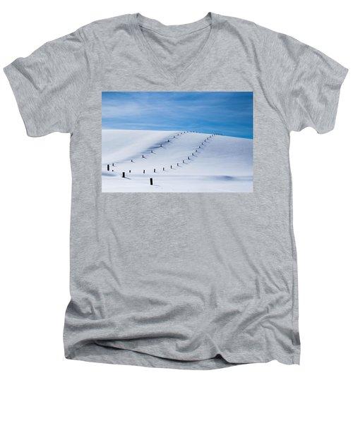 Snow Covered Pasture Men's V-Neck T-Shirt