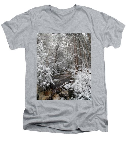 Snow Covered River Men's V-Neck T-Shirt